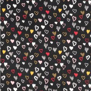 coeurs sur fond noir